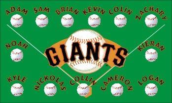 Giants Baseball Banners - San Francisco Giants Banner Custom Baseball banner -Little League Banner - Pony League Banner