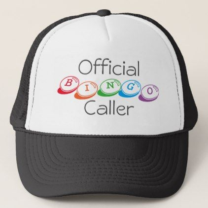 Official BINGO Caller in Colorful Lettering Trucker Hat - personalize gift idea special custom diy or cyo
