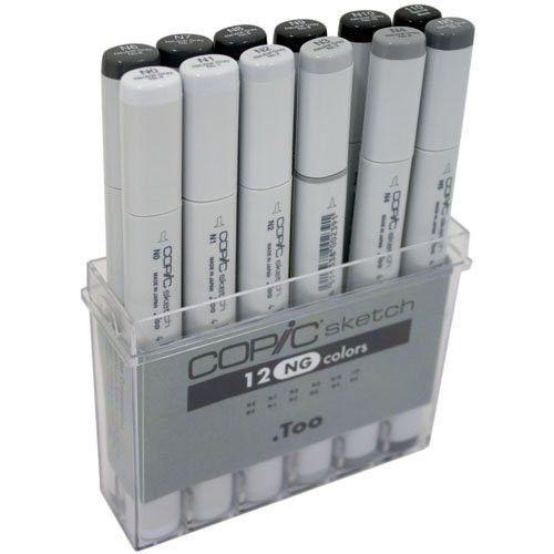COPIC Sketch Marker Set of 12 Toner Gray