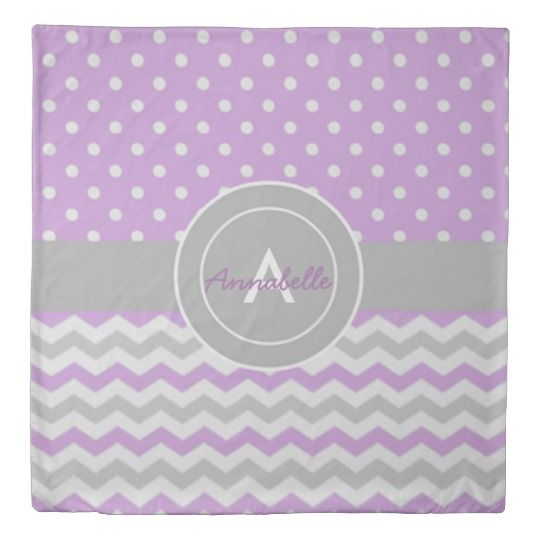 Purple gray polka dot chevron duvet cover #ad