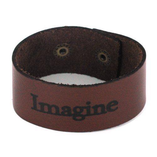 "Leather Wristband Bracelet in ""Imagine"" Design - 1.25'' Width, 7 to 8'' Adjustable Length Bracelets - Leather. $19.95"