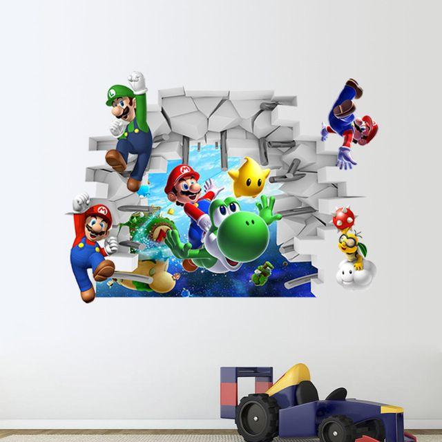 & 3D Cartoon Super Mario DIY muurstickers woonkamer slaapkamer muurtattoo classic game room voor kinderkamer home decor jongens gift