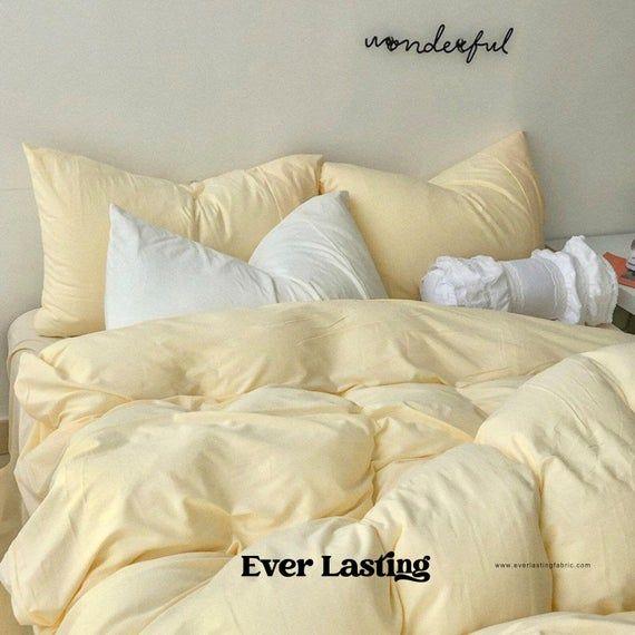 Ever Lasting Pastel Bedding Set Custard Yellow Duvet Cover Etsy In 2021 Yellow Bedding Sets Yellow Bed Sheets Yellow Bedding