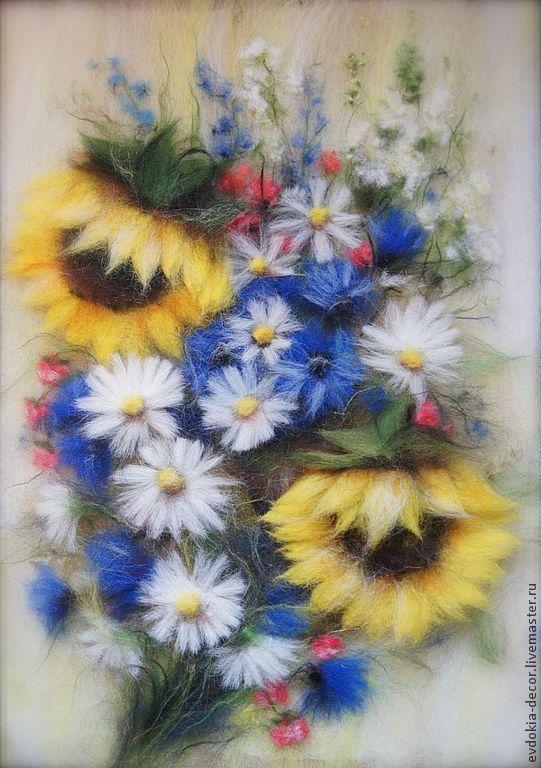 Купить Букет с ромашками (картина из шерсти) - картина в подарок, картина, картина с цветами, картина из шерсти