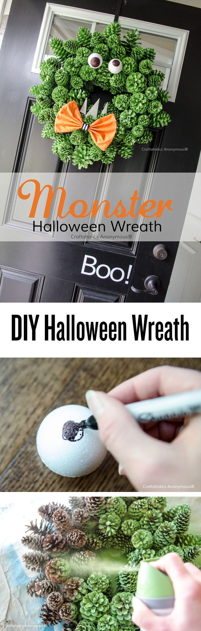 One of the most clever DIY Halloween wreaths! Turn a pinecone wreath into a monster with a little spray paint. Love this idea!