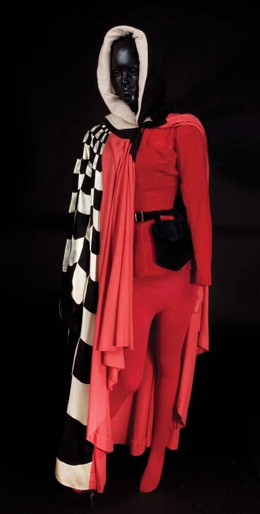 "Kathryn Grayson ""Lilli Vanessi"" red leotard, belt, hat, tights, and cape from Kiss Me Kate"