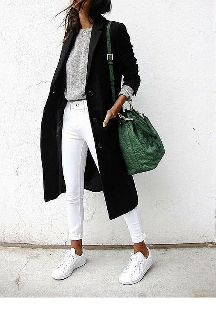 sneakers and pearls, street style new york fashion week, wear white pants in winter with white sneakers and a black coat, grey knit, trending now.jpg