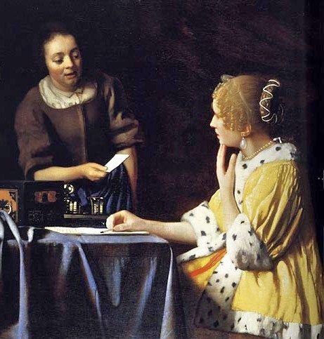Johannes Vermeer (Dutch Baroque Era Painter, 1632-1675) Mistress Writing and Maid