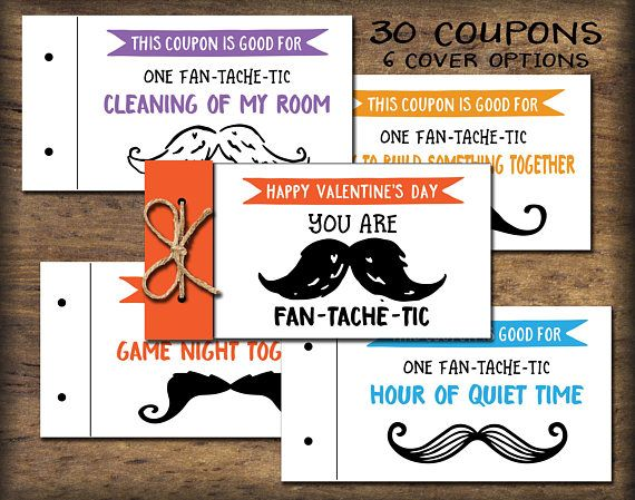 Coupon Book for him. Fan-Tache-Tic. Instant download. DIY