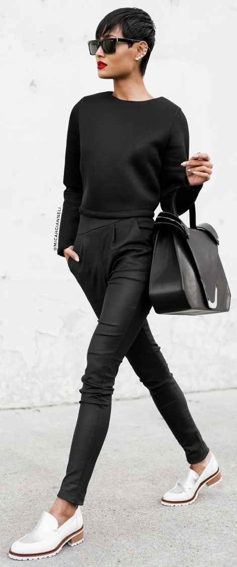 Black Tailored High Waisted Pants by Micah Gianneli... this is casual brought to a new level...S