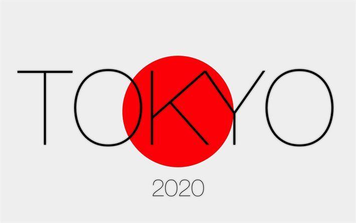 Tokyo 2020, logo, Japanese flag, 2020 Summer Olympics
