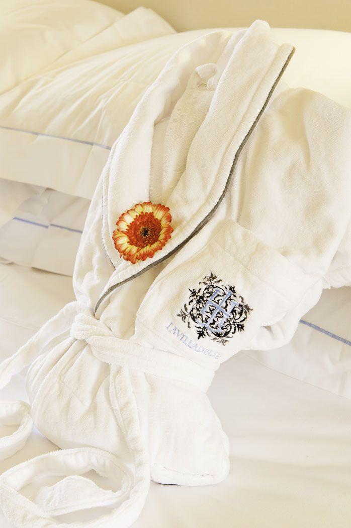 Customized #bathrobe in all our rooms #lavilladelre #hotel #costarei #sardegna