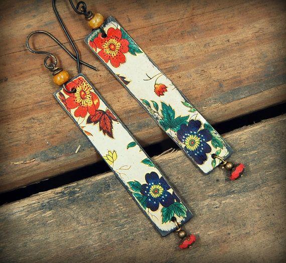 Vintage Tin Earrings Bohemian Dangle Earrings by PrimitiveFringe