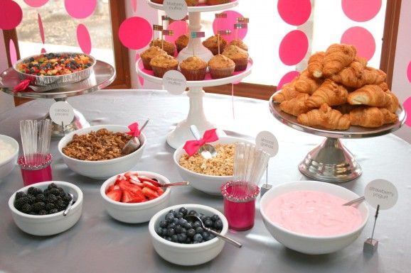 """IDEA: """"Since we were doing a mid-morning brunch shower, we had a fruit and yogurt parfait bar with lots of fun toppings"""""""
