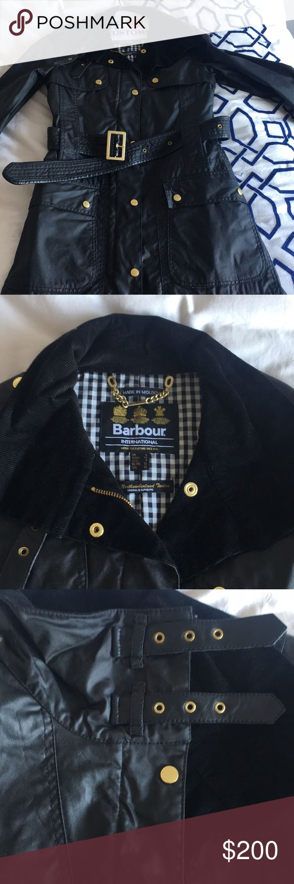 NEW women's Barbour International Wax Jacket Black NEVER WORN Barbour Ladies International Wax Jacket in Black. US size 4 / UK size 8 / EURO size 34 / FR size 36. Black corduroy collar and lining until midway down the coat opening. Gold buttons and belt buckle to adjust the waist. Barbour Jackets & Coats Utility Jackets