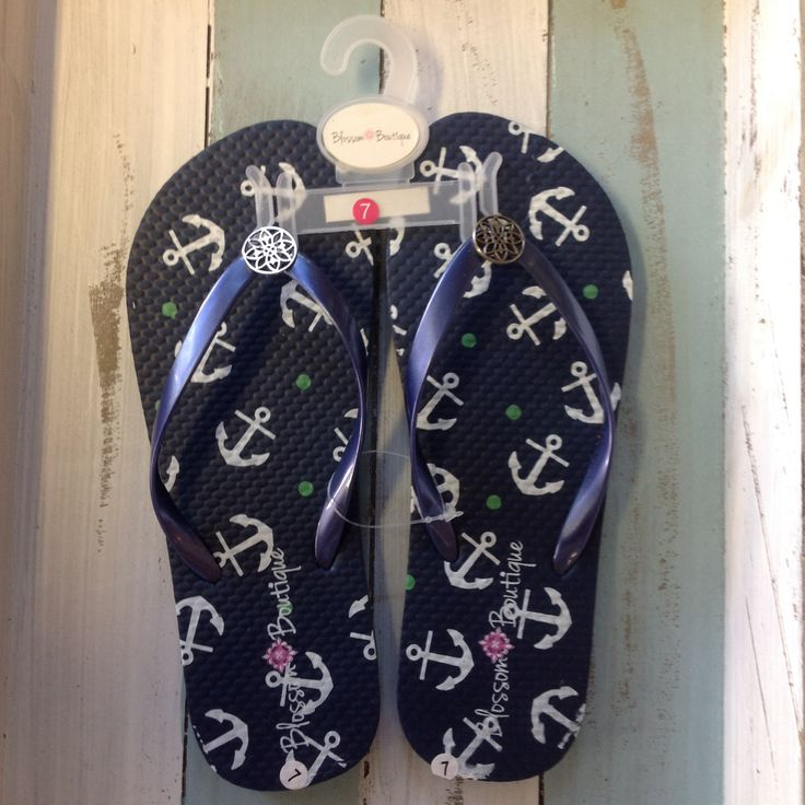Be Beach side Fashionable with our Blossom Boutique nautical Flip Flops with little Anchors on them. Comes in different Sizes 6, 7 & 8