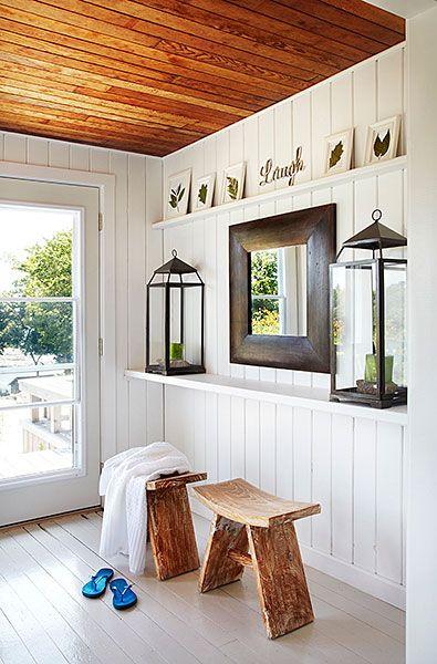 Beach Cottage Foyer White Hardwood House Of Style Pinterest Wood Paneling And Ceilings
