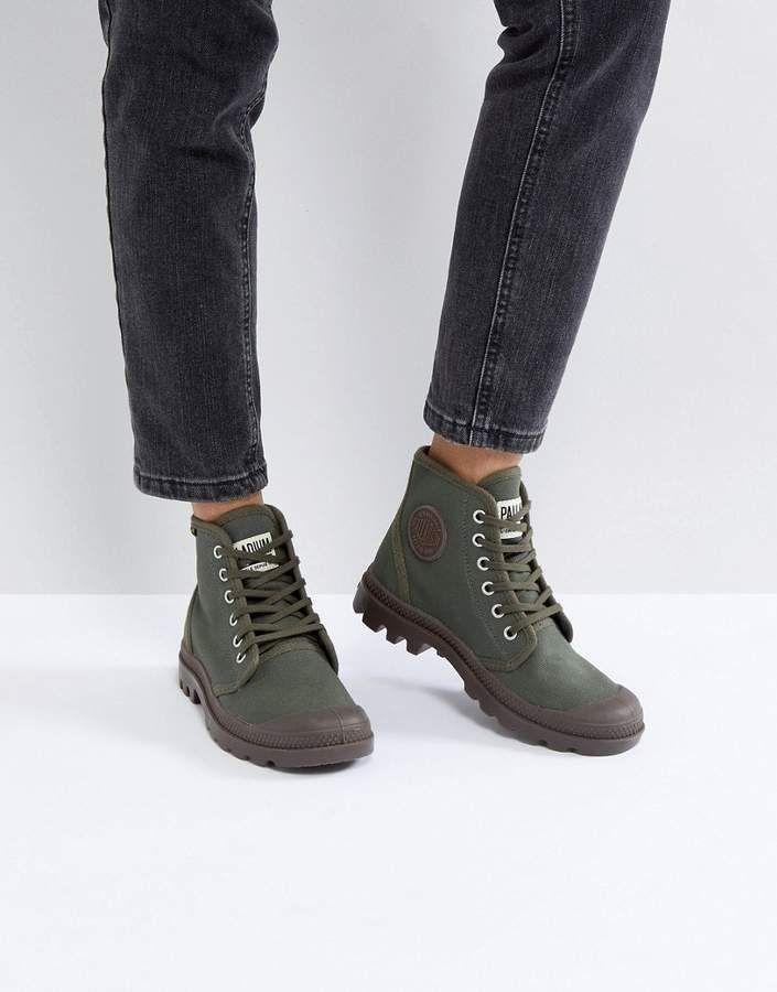 437cdbb1aa0 Palladium Pampa Hi Originale Olive Canvas Flat Ankle Boots | style ...