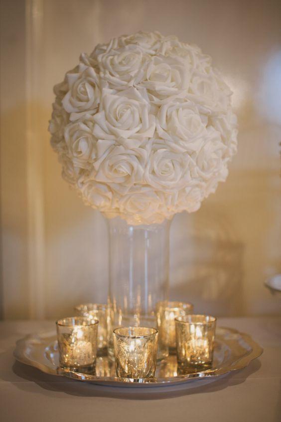 Photographer: Whitney Krutzfeldt Photography; Wedding reception centerpiece idea