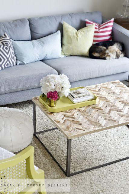 Herringbone Reclaimed Wood Coffee Table DIY