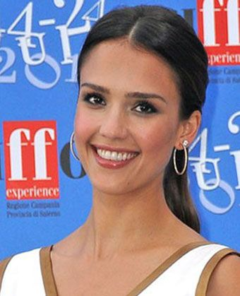 Jessica Alba's Center-Parted Simple Ponytail - front of hair is parted, then the rest is pulled straight back