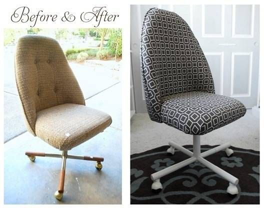 Another office chair redo: dated swivel chair from the thrift store for $5 bucks.