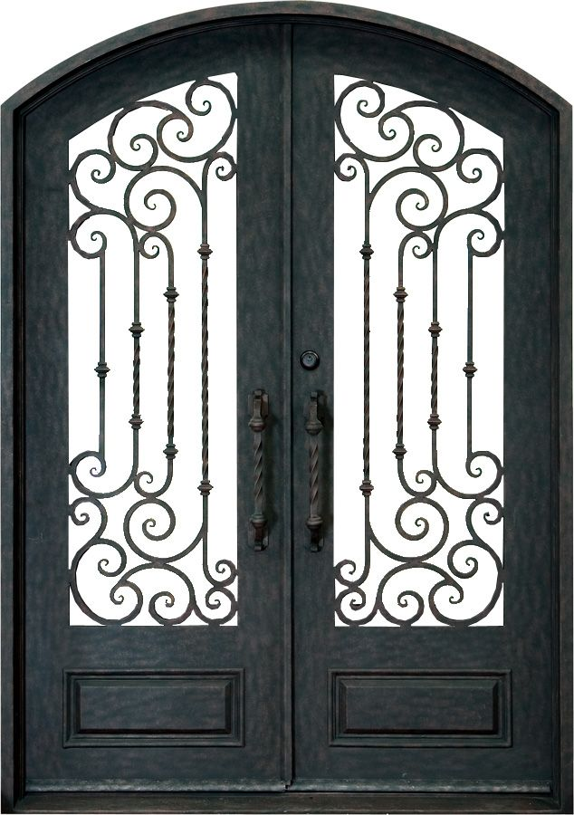 Wrought Iron Doors Double Curved Iron Door With Twirl