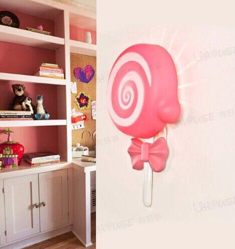 Акриловые розовый леденец прекрасный экологически чистых LED настенный светильник для детей спальне ночник ночники, E14 * 1 лампа включена