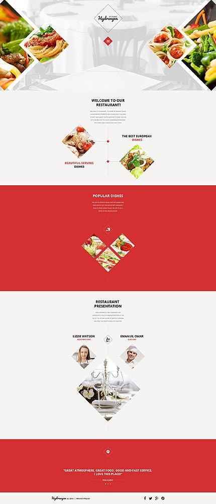 Template 57550 - Hydrangea Restaurant  Responsive Website Template
