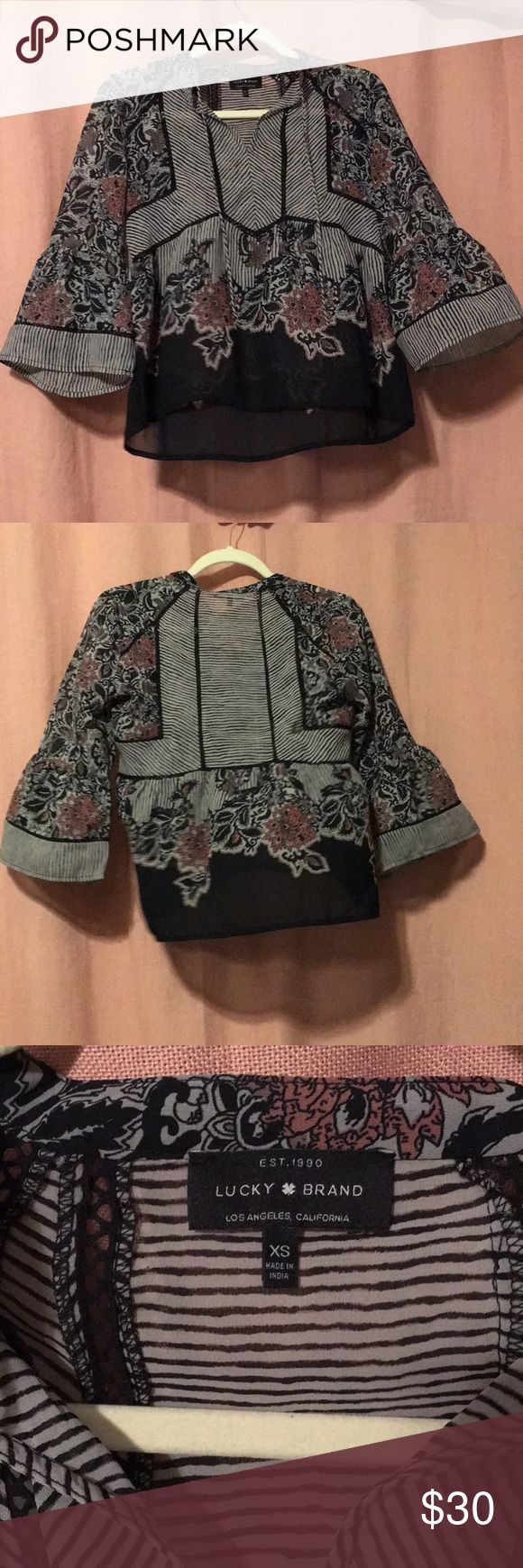 XS Lucky Brand mixed print top Barley worn XS Lucky Brand blouse. A beautiful sheer number that looks amazing with black skinnies and a good pair of boots or heels! Fits true to size Lucky Brand Tops Blouses