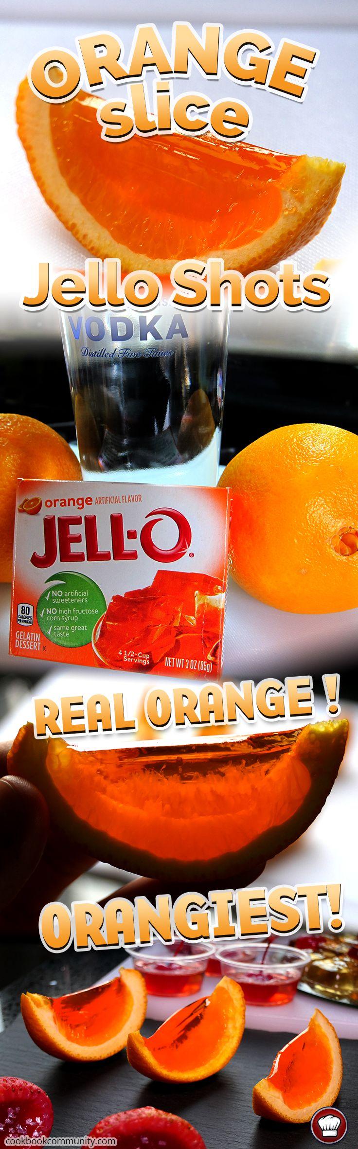 ORANGE SLICE JELLO SHOTS - Real orange bits in this jello shot make it better than any other!