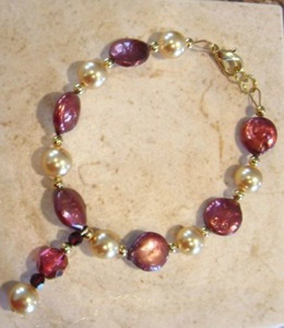Copper Red Freshwater Coin and Swarovski Pearl by treasuresbycathy