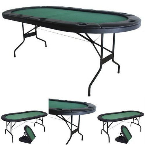 Texas-Holdem-Poker-Table-Folding-Game-Room-Card-Green-Oval-Cup-Holders-8-Player