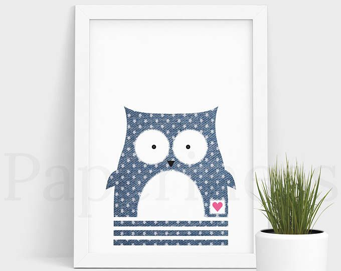 Owl Print, Baby Animal, Denim With Flowers, Large Printable Poster, Digital Download, Nursery Art, Nursery Wall Art, Baby Room Art