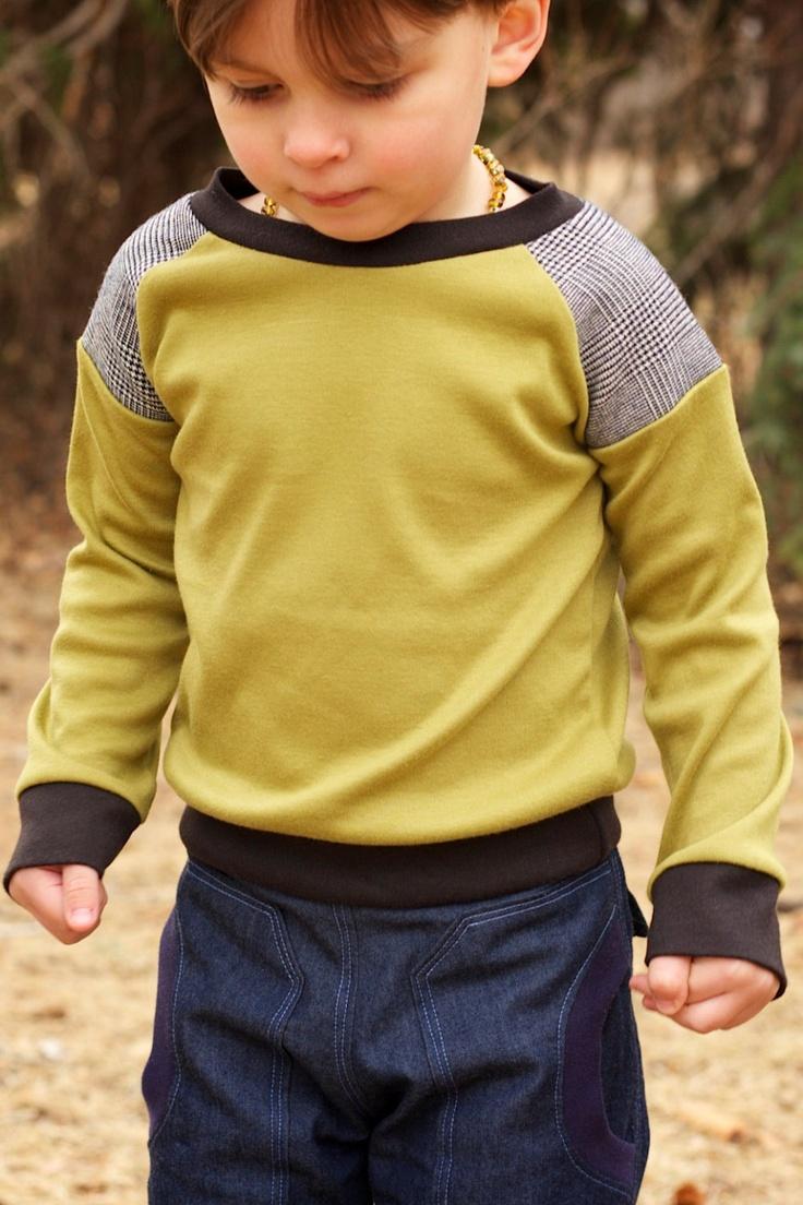 Boys Long Sleeve Raglan Knit Shirt..Sage Green..Childrens Clothing..Toddler..12M 18M 2T 3T 4T 5T..Kids Clothing..Houndstooth. $27.00, via Etsy.