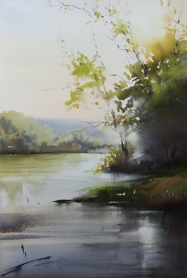 Ilya Ibryaev  plein Air - Evening on the River - watercolor - 53х35 cm-