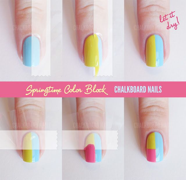 Sally Hansen Spring Color Block Tape Manicure (  Tutorial)