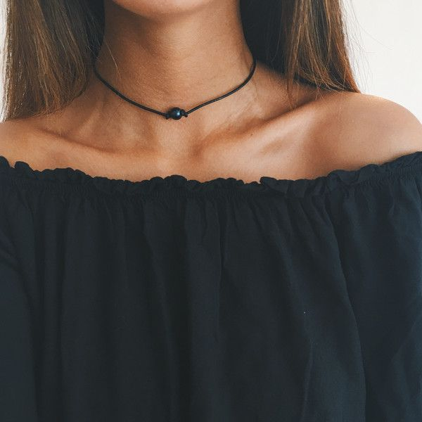 "- single black pearl (very dark blue, natural color) - 14""-16"" length faux leather choker - one of our first items created!"