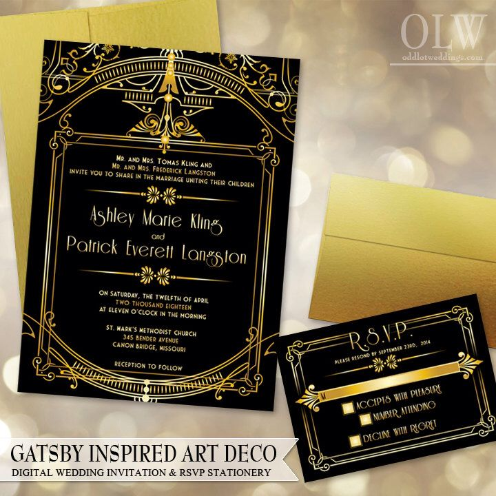 Gatsby Art Deco Wedding Invitation and RSVP card - Digital Files - Gold and Black Architectural by OddLotEmporium on Etsy https://www.etsy.com/listing/165504225/gatsby-art-deco-wedding-invitation-and