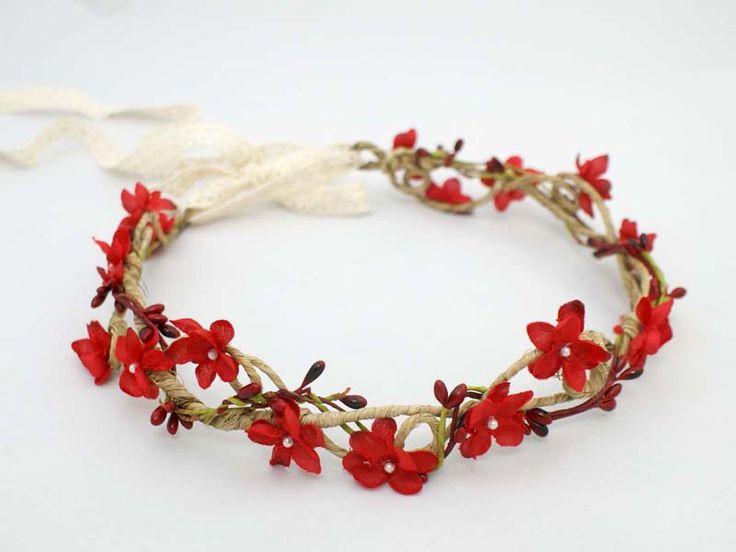 Madame Allure - Ślubny wianek - czerwone kwiaty  01140