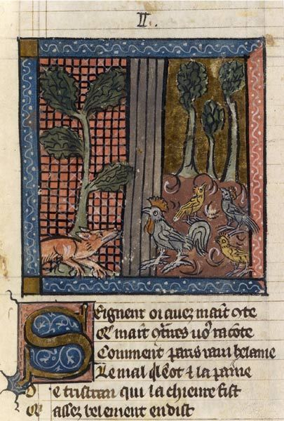 Reynard the Fox Renart currently coax Chantecler rooster Manuscript copied in Paris, 1325-1350 BnF, Manuscripts, French 1580 fol. 20 One day Renart enters a farmyard looking for some hens.