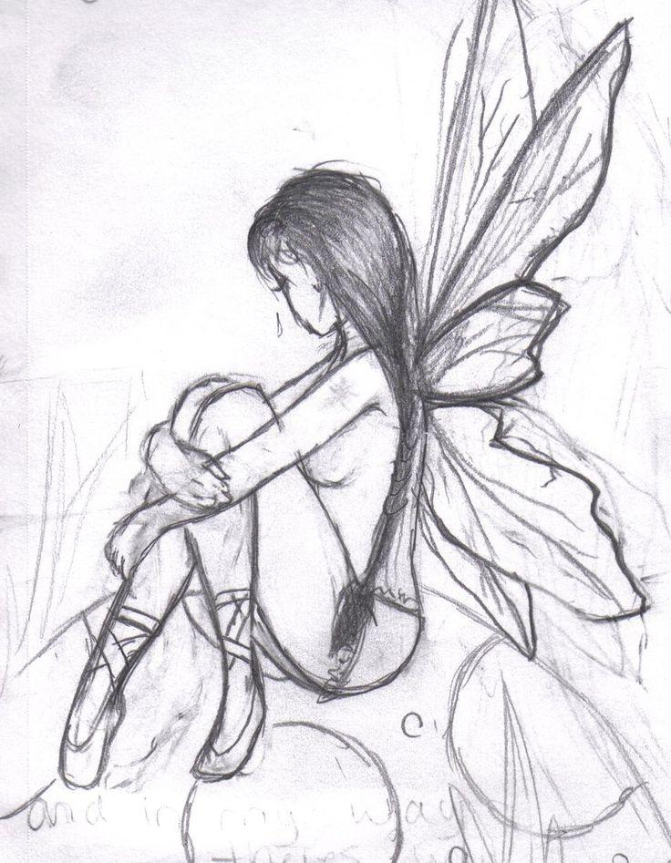 fairy drawings fairies dark easy pencil svg drawing sketch cartoon angel angels dragon cu