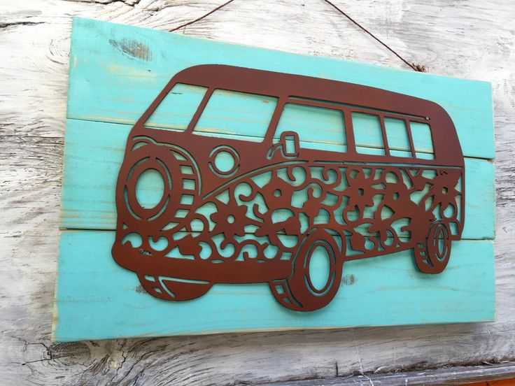 A personal favorite from my Etsy shop https://www.etsy.com/listing/255099648/wall-art-hippie-bus-wood-and-steel
