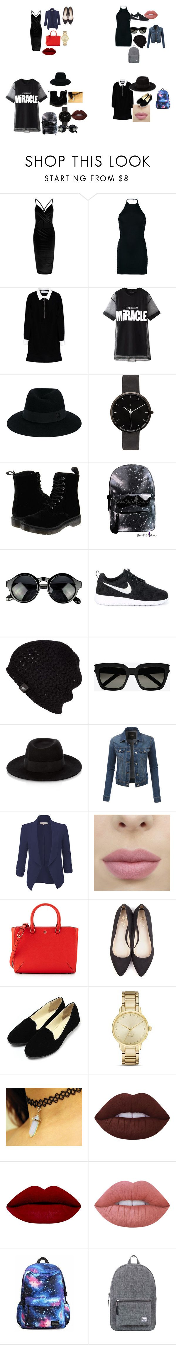 """black"" by sthefanie-larez on Polyvore featuring moda, Balmain, Victoria, Victoria Beckham, Chicnova Fashion, Maison Michel, I Love Ugly, Dr. Martens, NIKE, UGG Australia y Yves Saint Laurent"