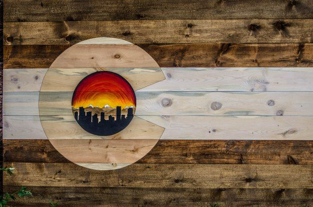 Custom 6x4ft Denver Skyline Flag! Follow us on Facebook or instagram! @coloradowoodcraft or check out our website COWoodcraft.com