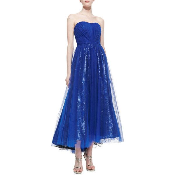ML Monique Lhuillier Strapless Tea-Length Cocktail Dress ($260) ❤ liked on Polyvore featuring dresses, sapphire, blue dress, sweetheart neckline dresses, sweetheart neckline cocktail dress, blue tea length dress and blue cocktail dresses
