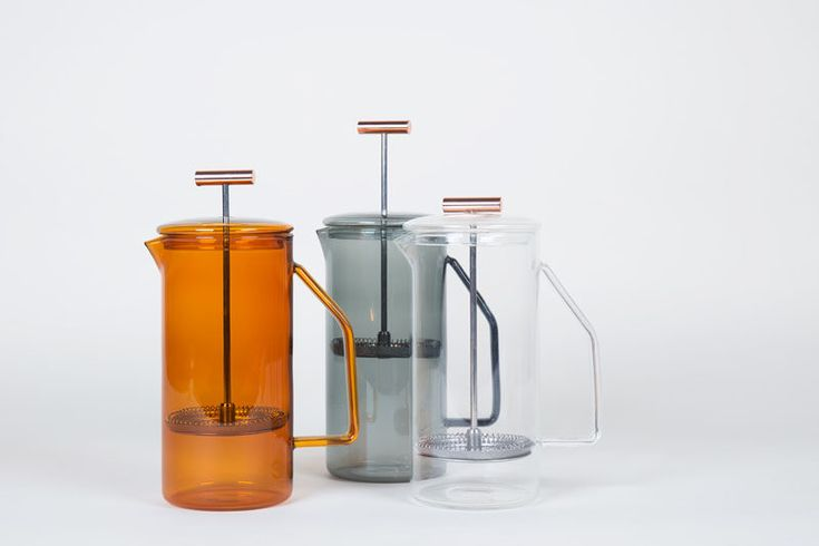 17 Modern Coffee Makers That You'll Want To Show Off // The clear bodies of these glass French Press' allows you the satisfaction of watching the coffee grounds get forced to the bottom of the pot when you plunge them down.