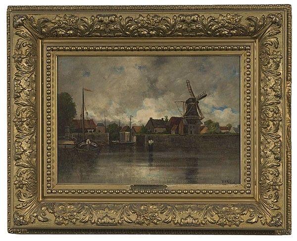Schilderij van William H Hilliard met molen De Eendracht en de havenmond (Gorricum, Holland by William H. Hilliard, Oil on C : Lot 251)