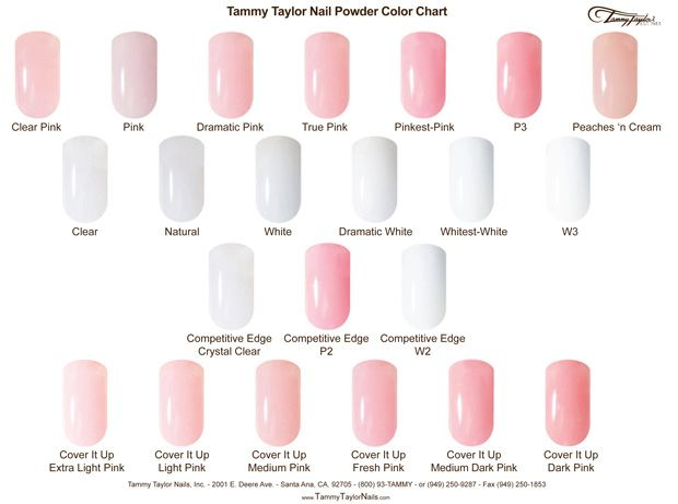 Tammy Taylor Nails Pink and White Color Chart