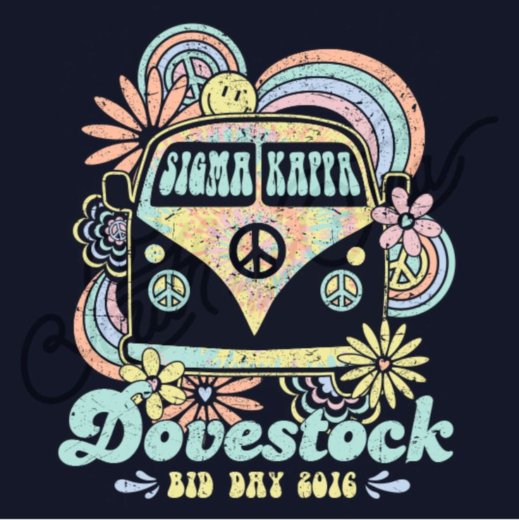 Sigma Kappa | Dovestock | Woodstock Theme | Bid Day | Recruitment | Sisterhood | Retro | South by Sea | Greek Tee Shirts | Greek Tank Tops | Custom Apparel Design | Custom Greek Apparel | Sorority Tee Shirts | Sorority Tanks | Sorority Shirt Designs